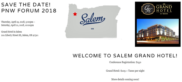 Save the Date! PNW Forum 2018